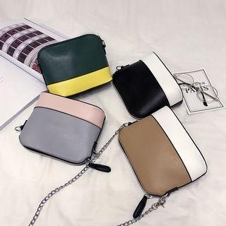 Color Panel Chain Strap Crossbody Bag