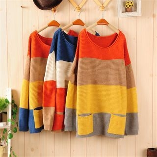 Color Block Ribbed Long Sweater 1054311105
