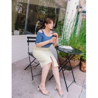Image of Asymmetric-Hem Midi Linen Skirt
