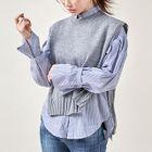 Set: Sleeveless Knit Top + Tab-Cuff Stripe Shirt 1596
