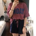 Set: Lettering Short-Sleeve T-Shirt + Sweat Shorts 1596