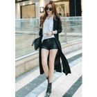 Open-Front Shirred-Trim Cardigan 1596