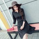 3/4-Sleeve A-line Dress 1596