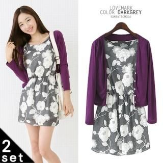 Buy lovemark Set: V-Neck Cardigan + Floral Print Lace Dress 1023028014
