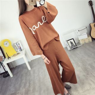 Set: Lettering Sweater + Ribbed Wide Leg Knit Pants 1052762418