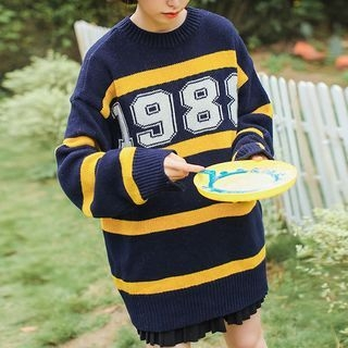 Lettering Striped Long Sweater 1063371226