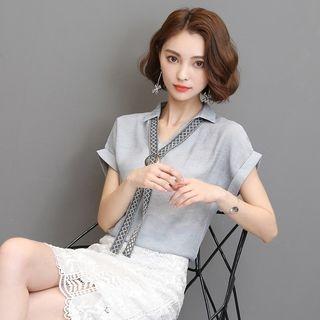 V-Neck Short-Sleeve Blouse 1061366868