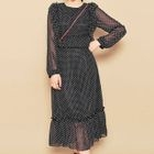 Frilled-Trim Dotted Dress 1596