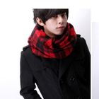 Fringed Plaid Scarf Black  Red - One Size от YesStyle.com INT