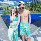 Couple Matching Set: Printed Tankini + Cover-Up + Swim Trunks 1596