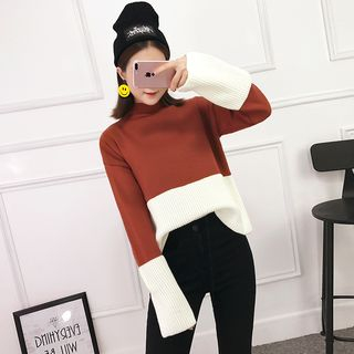 Long-Sleeve Two-Tone Rib Knit Sweater 1062589333