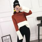 Long-Sleeve Two-Tone Rib Knit Sweater 1596