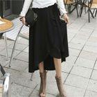 Band-Waist Long Wrap Skirt 1596