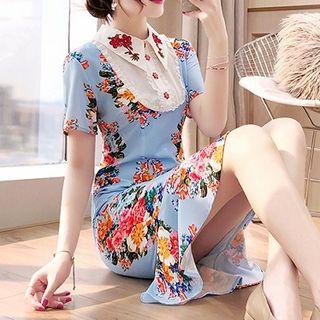 Rosewind Short-Sleeve Floral Print Collared Mermaid Dress