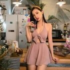 Bow Cut Out Swim Dress 1596