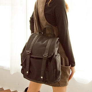 Faux Leather Trim Backpack