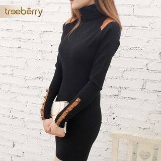 High Neck Long-Sleeve Sheath Knit Dress 1062445239