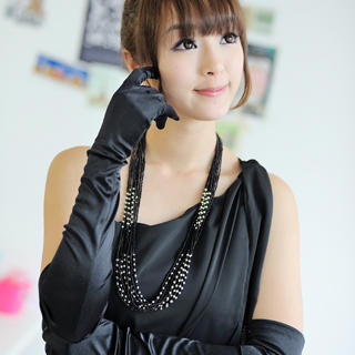 Picture of 59 Seconds Shirred Satin Evening Gloves Black - One Size 1021591485 (59 Seconds Apparel, Womens Hats & Scarves, Hong Kong Apparel, Hong Kong Hats & Scarves)