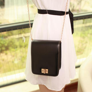 Twist-Lock Chain-Strap Crossbody Bag
