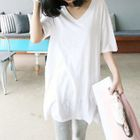V-neck Zip Elbow-Sleeve T-shirt 1596