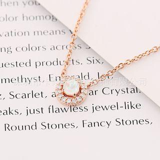 Rhinestone | Necklace | Pendant | Opal | Rose | Gold | Size | One