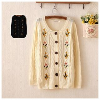 Embroidered Ribbed Cardigan 1045450373