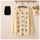 Embroidered Ribbed Cardigan 1596