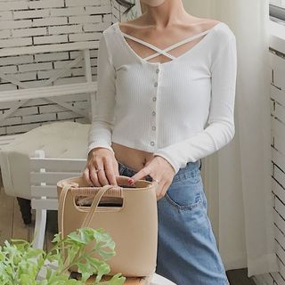 Plain Slim-Fit Long-Sleeve Cropped T-Shirt 1061938673