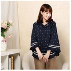 Anchor Print Hooded Cape Top 1596
