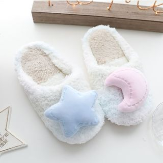 Image of Chenille Moon & Star Home Slippers