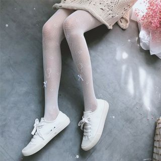 Image of Bow Detail Lace Tights