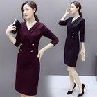 V-neck Long-Sleeve Dress 1596