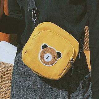 Image of Bear Detail Square Canvas Crossbody Bag