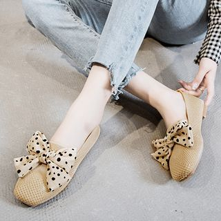 Image of Dotted Bow Knit Slip Ons