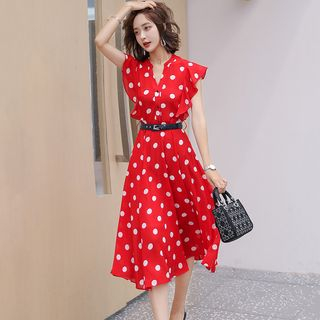 Romantica Dotted Ruffled A-Line Dress