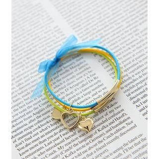 Cases & Bags Set of 3: Heart Charm Elastic Cord Bracelet Turquoise - One Size