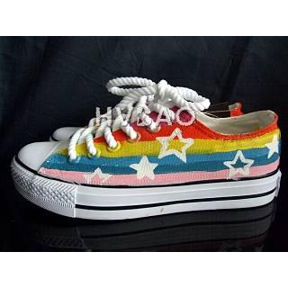 """Rainbow Stripes and Stars"" Sneakers"