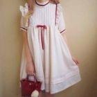 Frilled Short-Sleeve A-Line Dress 1596