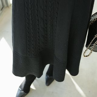 Cable-knit Midi Flare Skirt