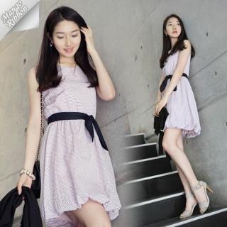 Buy Mango Ribbon Sleeveless Dress with Sash 1022990732