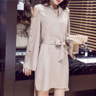 Cutout Shoulder Long-Sleeve Dress 1596