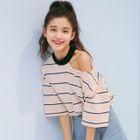 Short-Sleeve Cutout Shoulder Striped T-Shirt 1596