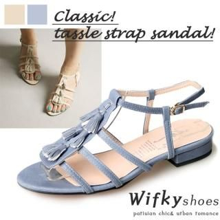 Buy Wifky Tassel Accent Strappy Sandals 1022982392