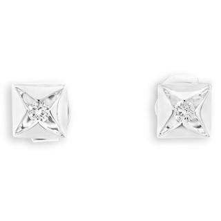 18K White Gold Square With Inset Diamond Solitaire Unisex Stud Earrings 1035436477