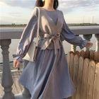 Set: Ruffled Dress + Tie-Waist Vest 1596