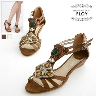 Buy FLOY SHOES Embellished Wedge Sandals 1023053613