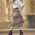 Banded-Waist Patterned Skirt 1596