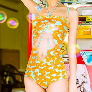 Bow Print Cutout Swimsuit 1038286555