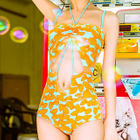 Bow Print Cutout Swimsuit 1596
