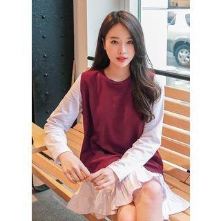 Set: Sleeveless Knit Top + Long-Sleeve Dress 1061810277